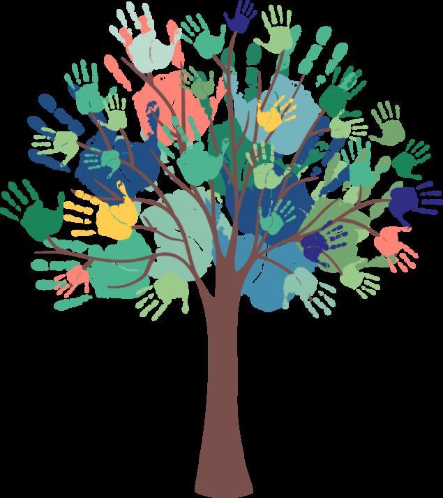 arbre avec des mains de toutes les couleurs